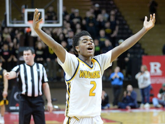 Woodbury's Jayshawn Harvey  celebrates after defeating Cresskill 60-58 in the Group 1 boys basketball state final at Rutgers University in Piscataway on Sunday. 03.11.18.