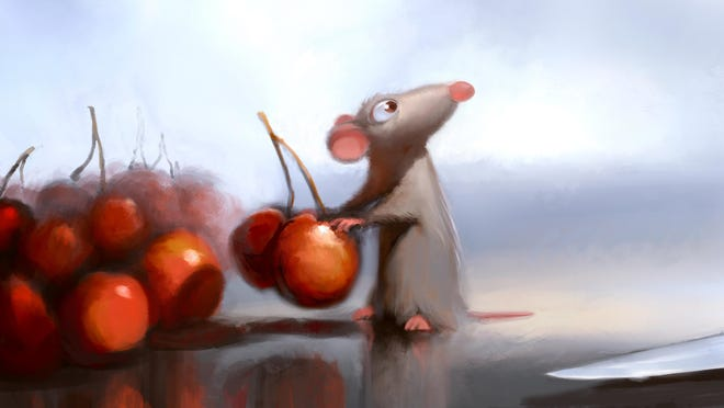 "Robert Kondo's digital painting of Remy in the kitchen helped to shape ideas for the 2007 Pixar film ""Ratatouille."""