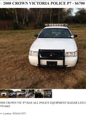 In this ad from Craigslist, a 2008 Crown Victoria police P7 is offered for sale in a Texas city with radar, light bar and siren intact.