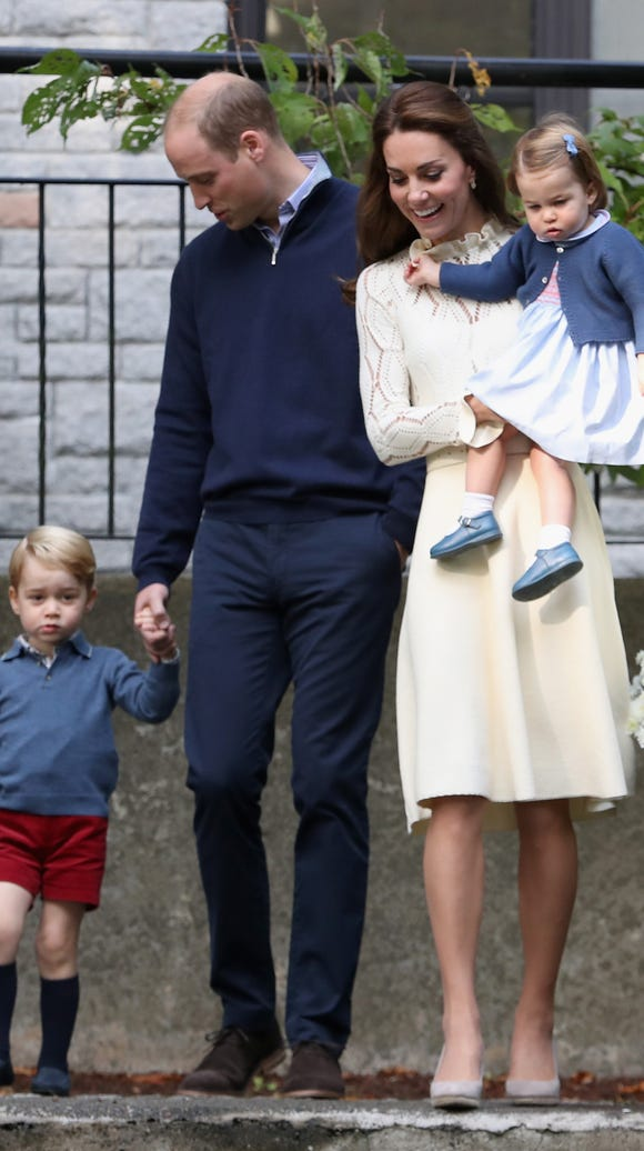Will and Kate and George and Charlotte arrive for a