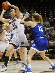 Rachel Swartz (34) looks to put up a shot over Brenni Rose (12) during the Lady Bears 90-64 loss to the Drake Bulldogs at JQH Arena on Sunday, Jan. 1, 2017.
