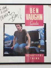 An autograph from musician Ben Vaughn hangs on the wall of the home of Dave Khanlian and his wife Jen Hilinski, who regularly host concerts in their Moorestown home. Vaughn performed a concert at the house.