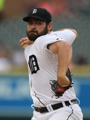 Tigers pitcher Michael Fulmer throws during the first inning Wednesday at Comerica Park.