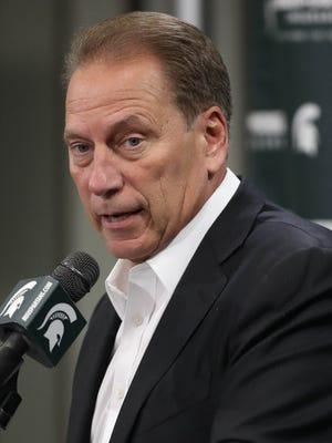 Michigan State coach Tom Izzo talks with reporters during media day Wednesday, Oct. 11, 2017 at the Breslin Center in East Lansing.