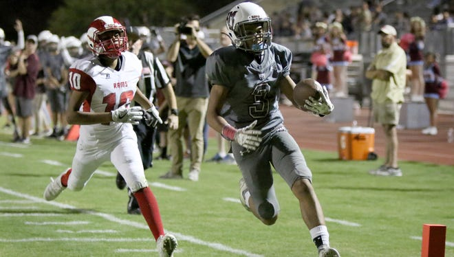 Rancho Mirage's Jevin Dorsey scores a touchdown during the first half of the game against Desert Mirage in Rancho Mirage on Friday, October 27, 2017.