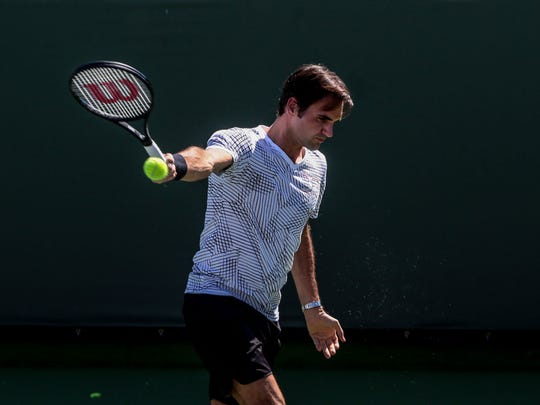 Roger Federer, of Switzerland, on practice court 1 during the first Wednesday of the BNP Paribas Open on Wednesday, March 8, 2017 in Indian Wells, CA.