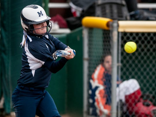 Marysville's Jessica Wilson gets a hit during a softball