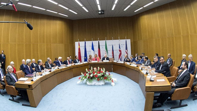 Overview of a last plenary session of the talks on the Iranian nuclear program at the United Nations building in Vienna.