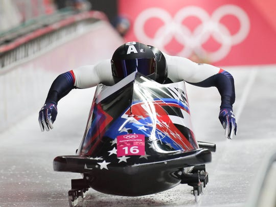 Nick Cunningham and Hakeem Abdul-Saboor of the U.S. compete in the bobsled two-man heat 3 during the Pyeongchang 2018 Olympic Winter Games at Olympic Sliding Centre in Pyeongchang, South Korea.
