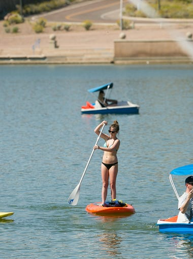 Any paddling sport | Kayaks, canoes and stand-up paddleboards are available for rent at locations around the Valley, including some at or near desert lakes. They're available at Tempe Town Lake, too, but swimming isn't allowed except for special events (and take our word for it, you don't want to get in that water).  Boards can be rented from $20 an hour to $40 for a day. Go Stand Up Paddle at Bartlett Lake offers a $25 lesson with a board rental of two hours or more ($35 for two hours).  Paddling at a moderate effort burns about 400 calories per hour (for someone of 155 pounds, according to data from the American College of Sports Medicine).