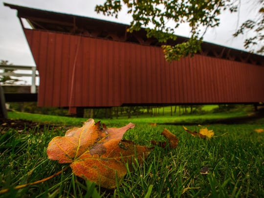 Cutler-Donahoe covered bridge Monday, Oct. 5, 2015.