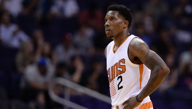 Suns guard Eric Bledsoe (2) walks off the court for a timeout in the first half of the game against the Utah Jazz at Talking Stick Resort Arena.
