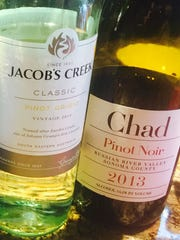 A Jacob's Creek 2015 Classic pinot grigio and a 2013 Chad Russian River Valley pinot noir.