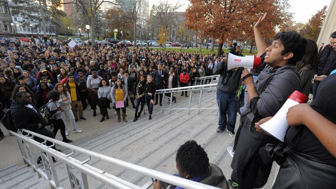 University of Michigan students expressed frustrations on the steps of Angell Hall last week.