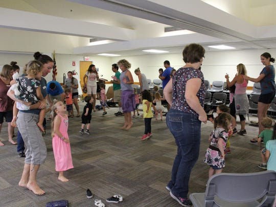 Everyone participated when it was time for some jumping during the Music Together of Galloway class at the Mays Landing library on Friday morning.