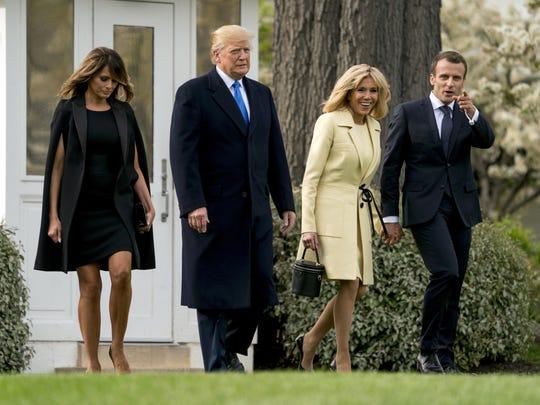 Donald Trump, Emmanuel Macron, Brigitte Macron, Melania Trump