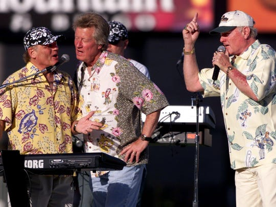 The Beach Boys' Bruce Johnson, left, and Mike Love,