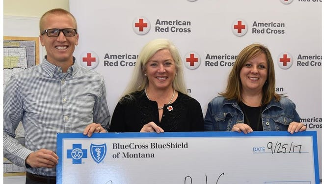 From left: Jesse Zentz, manager of community relations at Blue Cross and Blue Shield of Montana; Diane Wright, Red Cross of Montana executive director; and Randi Heigh, public relations coordinator of Blue Cross and Blue Shield of Montana.