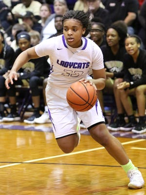 Jamirah Shutes dribbles the ball up the court during Haywood's 73-70 overtime win over Dyersburg in the Class AA sectionals on Saturday.