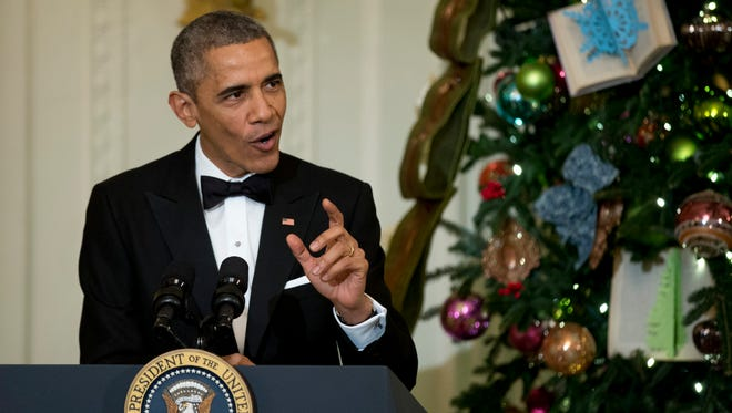 President Barack Obama speaks at a reception honoring the Kennedy Center Honorees on Dec. 7 in the East Room of the White House in Washington.