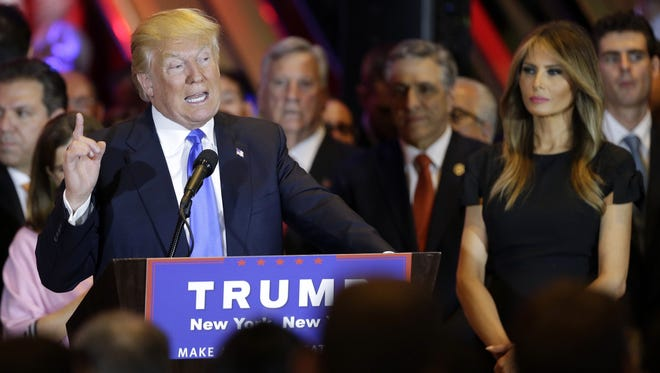 Donald Trump gives a speech Tuesday, when he swept several primaries in the northeast.