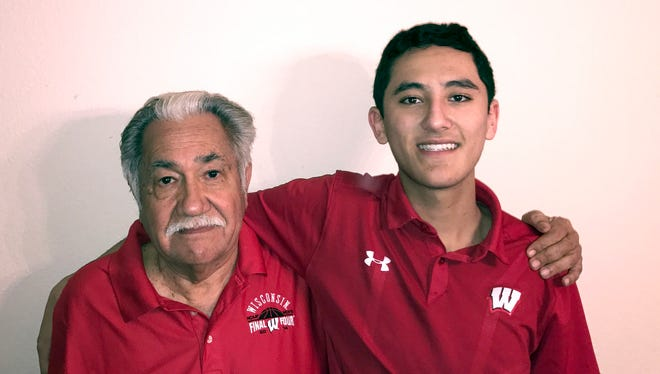 Luciano Barraza, left, will participate in the UW–Madison 2017 winter commencement ceremony largely due to the initiative and perseverance of his grandson, Raul Correa, right, a high school senior in San Antonio, Texas.