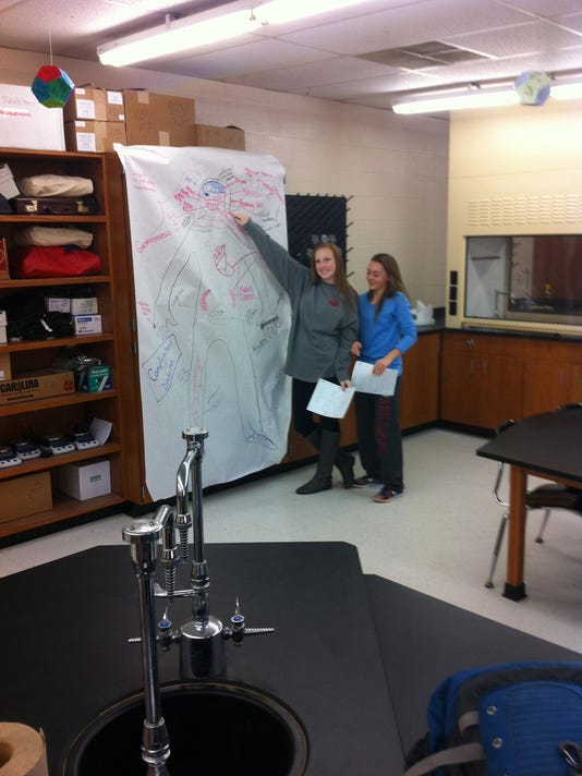 Biomed Photo 1 - Kristen Caraway and Natalie Everett display their work in P