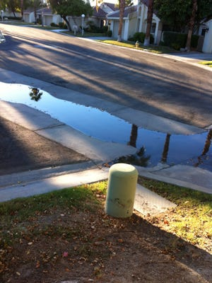 """Desert Sun reader Rebecca Hertsgaard says water is in the street next to her Palm Desert home nearly all the time. If you see water being wasted, send a photo or a video to letters@desertsun.com. Please put """"water watchdogs"""" in the subject line."""