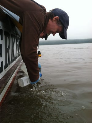 Riverkeeper conducts water quality sampling from its patrol boat along the Hudson River in June.