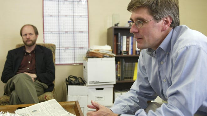 Stephen Moore, right, and David Keating discuss the upcoming races the Club for Growth wants to influence in this Friday, April 30, 2004, file photo. Additional provocative commentaries about women written by Stephen Moore, President Trump's pick for the FED board, emerged Tuesday.