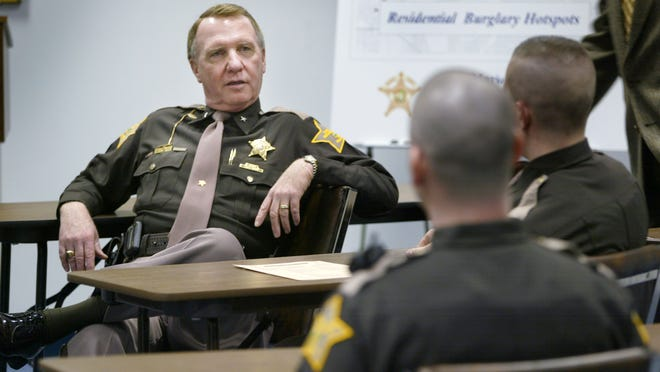 Jack Cottey visits with officers on the tactical shift at the Marion Co. Sheriff's Department Training Academy.