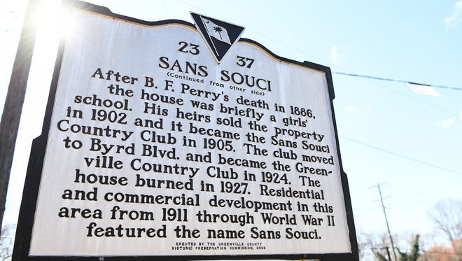 The historical marker off Blue Ridge in Greenville traces Greenville Country Club's roots to San Souci.