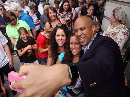 U.S. Senator Cory Booker drew some attention during