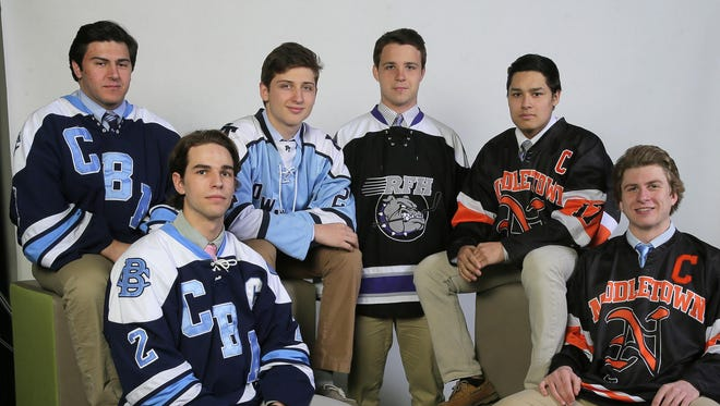 The 2016 Asbury Park Press All-Shore Ice Hockey Team of: Michael Cernero, Ryan Bogan Jr., Julian Kislin, Brendan Ban, Khristian Acosta and Bobby Hampton.