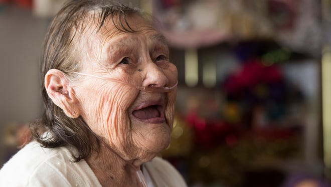 Victoria Lozano celebrates her 104th birthday at her home in northeast Fort Collins Thursday, March 24, 2016.