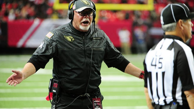 Head coach Bruce Arians of the Arizona Cardinals talks than official during the second half against the Atlanta Falcons at the Georgia Dome on Nov. 27, 2016 in Atlanta, Georgia.