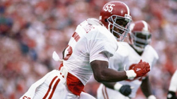 The late Derrick Thomas had 27 sacks his senior year in 1988 to earn All-American honors at Alabama.