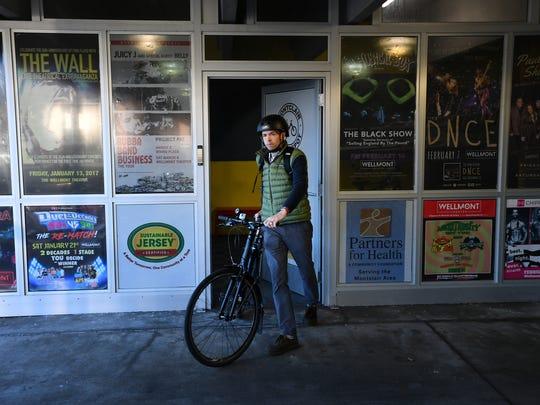 "Dan Helmick leaving the Montclair Bike Depot. ""I always"