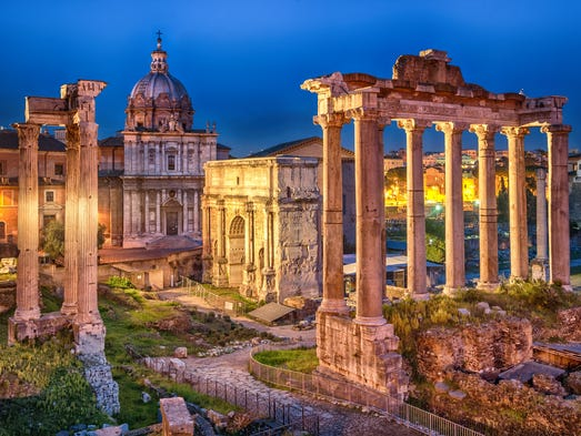 Rome: A view of the Forum from the Capitoline Hill.