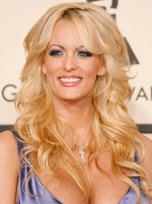 former adult film star Stormy Daniel appears at the The 50th Annual Grammy Awards show in 2008. In-Touch magazine in January 2018 published a 7-year-old interview with Daniels in which she alleged having an extramarital affair with Donald Trump beginning in 2006.