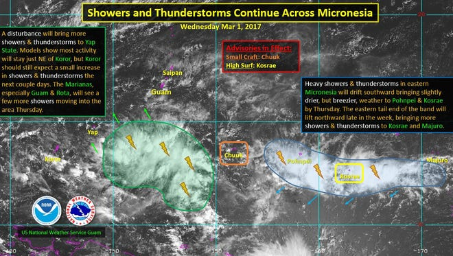 A March 1 Facebook photo from the U.S. National Weather Service Guam's page of the disturbances that will bring rainy weather to the area over the next few days.