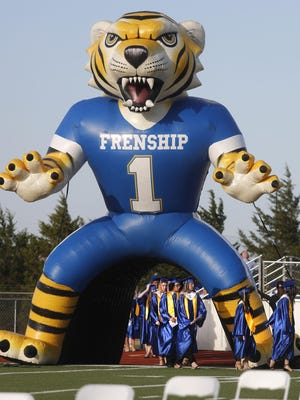 Graduates enter the stadium under their inflatable Tiger mascot. Frenship High School held their class of 2020 Commencement ceremony at Peoples Bank Stadium Friday, June 5, 2020.