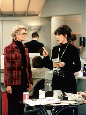 In this 1997 photo, Candice Bergen, left, and Lily Tomlin star in 'Murphy Brown.'