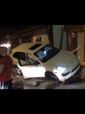 A Porsche Cayenne crashed into a restaurant in Netcong on Friday.