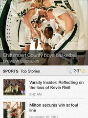 A screen shot of the sports section on the Burlington Free Press iPhone app.