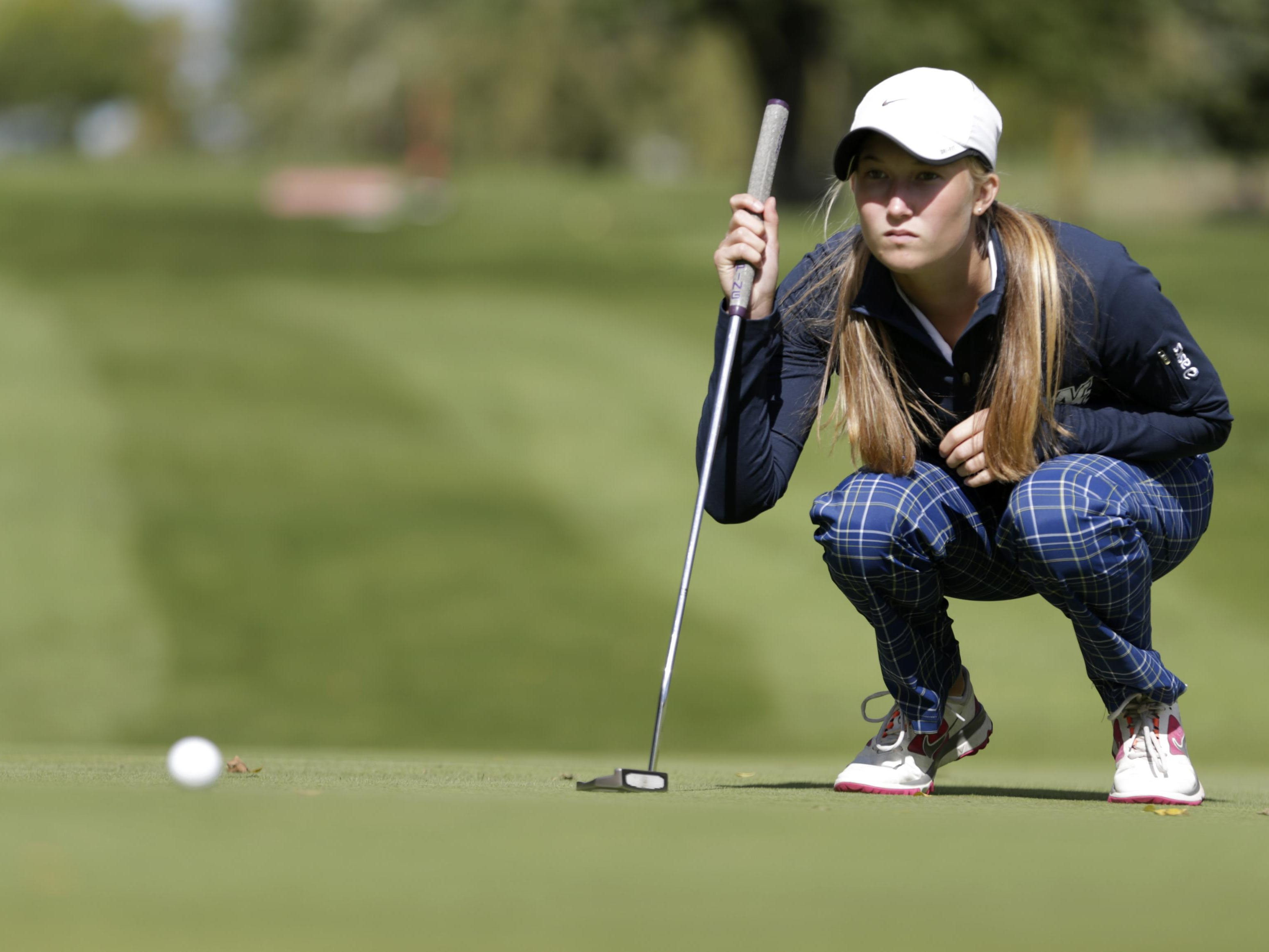 Danny Damiani/Post-Crescent MediaSydney Maule of Appleton North lines up a putt during the Division 1 regional at Countryside Golf Course on Wednesday in Kaukauna. Sydney Maule, of Appleton North High School, lines up a putt during the 2015 Division 1 Regionals at Countryside Golf Course Wednesday, Sept. 30, 2015, in Kaukauna, Wis.Danny Damiani/Post-Crescent Media