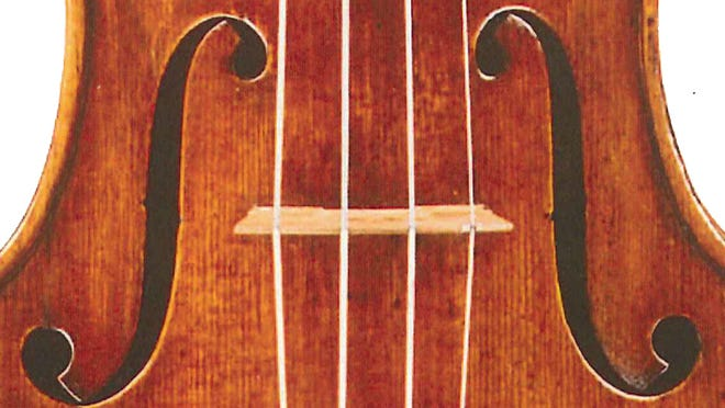 Tight shot of the 1683 ex-Gingold Stradivari, one of the prizes conferred upon the victor of the International Violin Competition of Indianapolis.