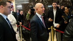 Jeff Bezos, chief executive officer of Amazon, arrives