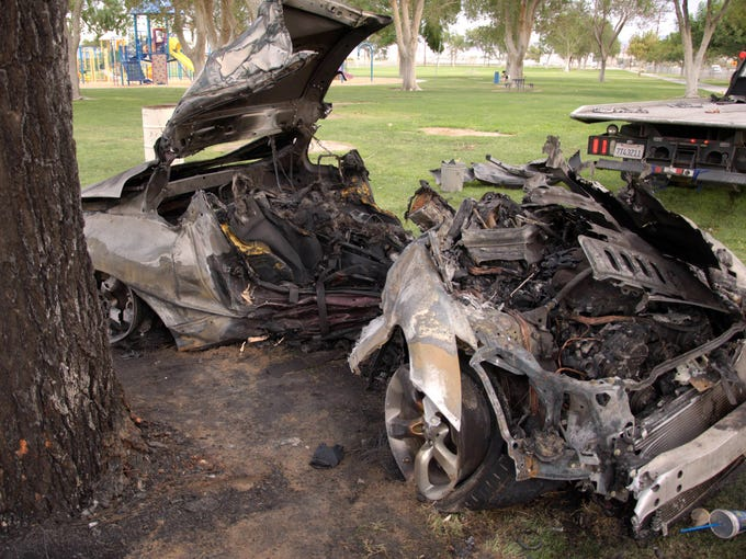 The remains of a purple Nissan 350Z that driver Lance Cpl. Christian Mogrovejo, 20, lost control of on Utah Trail in Twentynine Palms on July 30, 2011.  The crash killed two Marines.
