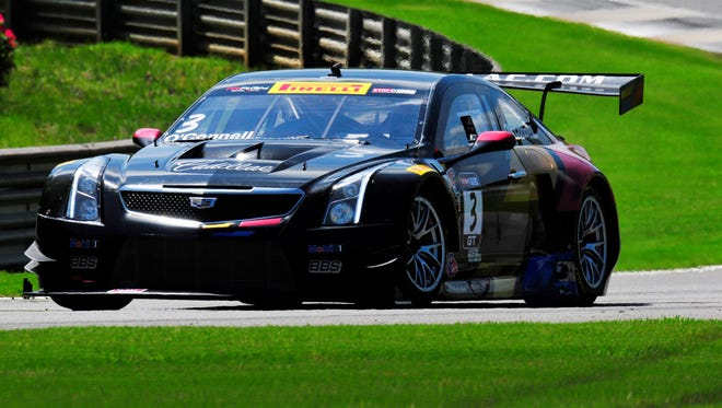 Johnny O'Connell drives his  Cadillac ATS-V.R GT3 during the Pirelli World Challenge race at Barber Motorsports Park on Sunday.